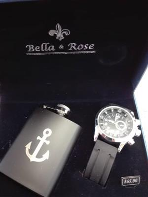 Bella and rose watch and flask