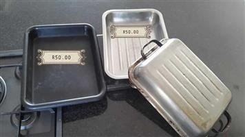 Meat container with lid and oven pan