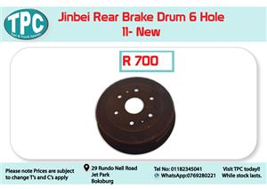 Jinbei Rear Brake Drum 6 Hole 11-New for Sale at TPC