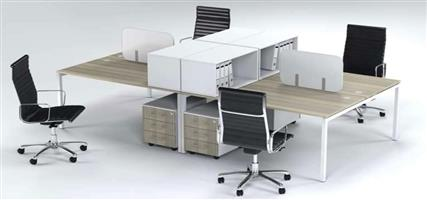Four Way Cluster Desk with Mobile Pedestals
