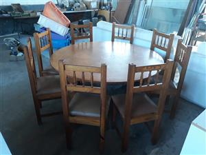 8 Seater wooden round table dining set