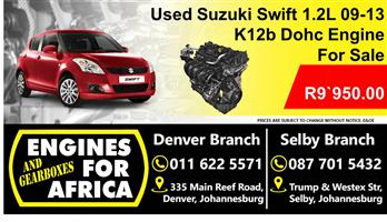 Used Suzuki Swift 1.2L K12b Dohc 09-13 Engine For Sale