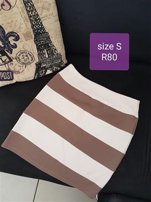 Small brown and white striped skirt