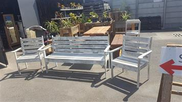 3 Piece white patio bench set for sale
