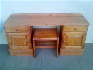 Dressing table. Solid Oregon pine.  Size 146cm X 41cm and 68cm high.