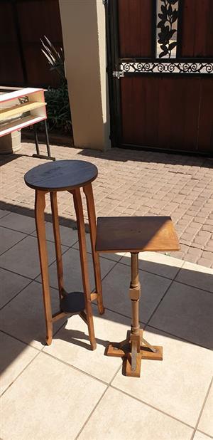 2 x wooden antique vase stands