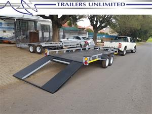TRAILERS UNLIMITED. 5000 X 2000 X 200 DOUBLE AXLE CAR TRAILER.