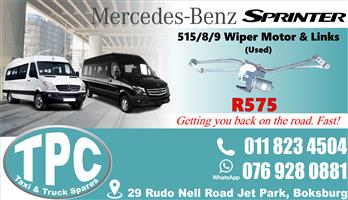Mercedes Sprinter 515/8/9 Wiper Motor & Links - Used - Quality Replacement Taxi Spare Parts.