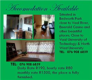 Accomodation and back packer / B&B for an hour, a day or a month