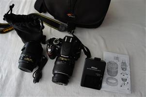 Nikon D3200 DSLR 24.2 MP with Twin lens and bag in Mint condition