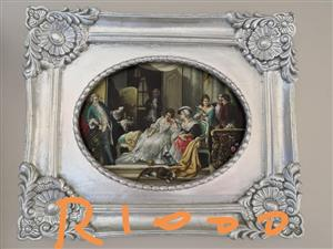 Silver framed small english painting