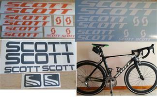 Scott bicycle frame and rim decals stickers / vinyl cut graphics kits