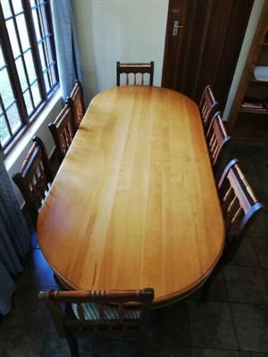 Yellowwood and imbuia dining room table and sideboard for sale