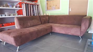 L SHAPED BROWN SUEDE COUCHES FOR SALE