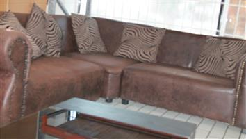 S034419A Brown l - shape couch #Rosettenvillepawnshop