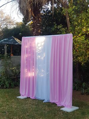 Pink & white pocket Drape available - Backdrop