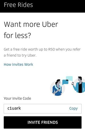 Free UBER RIDES. Use c1uark for R50 off