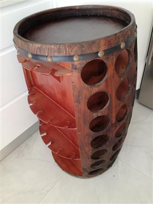 Wine barrel bottle & glass holder