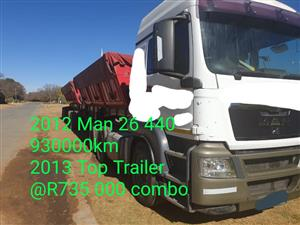 2012 MAN 26 440 & 2013 Top trailer combo