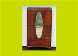 Edwardian Inlaid Mahogany Single Mirrored Door Wardrobe - SKU 618
