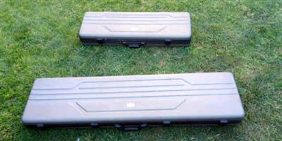 RIFLE HARD CASES x 2, REF FOX WITH FOAM LINERS AND CAM LOCKS WITH KEYS