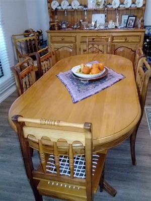 Yellow Wood and Blackwood Dining room Suite and Welsh Desser