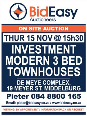 AUCTION:  Modern Townhouses & 2 vacant stands in central location in Middelburg