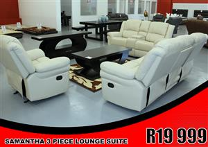 LOUNGE SUITE BRAND NEW!!!!! SAMANTHA RECLINER LOUNGE SUITE  FOR ONLY R19 999
