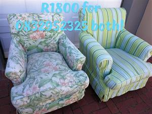 2 beautiful vintage slipcover chairs on wheels Edgemead collection