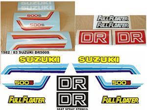 Graphics decals / vinyl cut sticker / seat stencil kit for a 1982 Suzuki DR 500S motorcycle