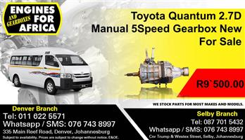 Toyota Quantum 2.7D Manual 5Speed Gearbox New For Sale.