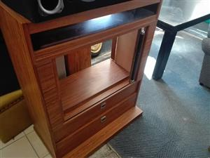 Wooden tv stand with drawers