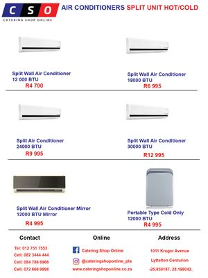 AIR CONDITIONERS SPLIT UNIT HOT/COLD FOR SALE