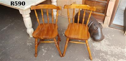 2 x Vintage Pine Kitchen Chairs