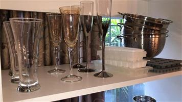 Champagne glasses,strainers and ice moulds