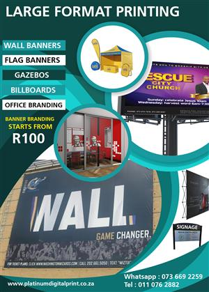 pull up banner from R500, Wall banners, gazebos, flags, branding, stickers whatsap 0844298715
