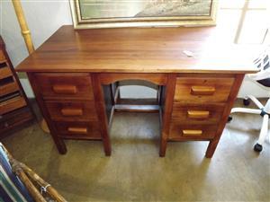 Teak, six-drawer desk