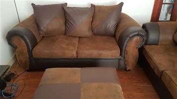 Easy to clean Suede and Leather couch for sale