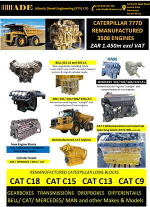 CAT/ BELL/ MERCEDES/ ADE/ MAN/ DEUTZ/ CUMMINS and other makes and models