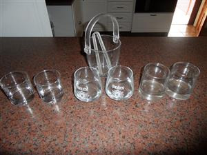 GLASSES AND GLASS ICE BUCKET  WITH PINCHER
