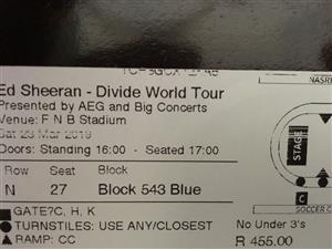 1 Ed Sheeran ticket 23 Mar