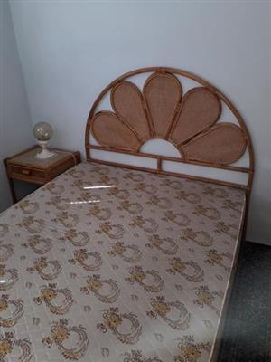 Cane bedroom set with mattress and base