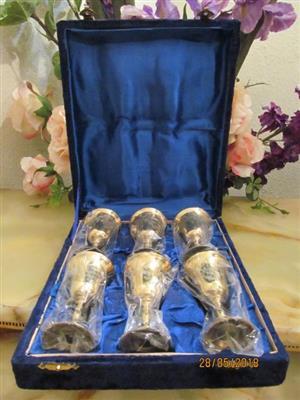 ROYAL BLUE !! Vintage Set of Six Etched Brass Cordial Goblets in Velvet Presentation Case