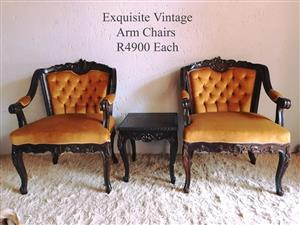 Vintage arm chairs for sale.
