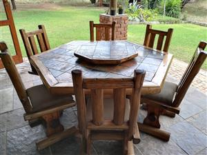 Pole & Slate table and chairs