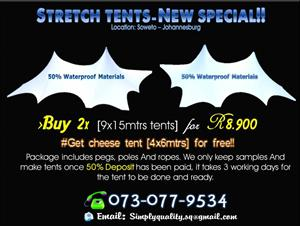 STRETCH TENT PACKAGE SPECIALS