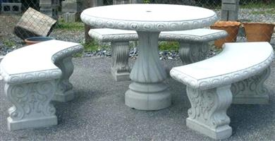 Concrete Patio Set Outdoor Table (1) and Benches (3)