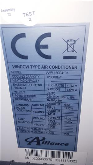 12000btu Alliance Window type/ Wall mount Air conditioner