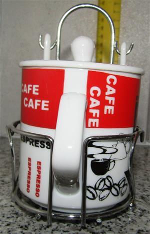 Porcelain Espresso Coffee Set in Stand - Unique