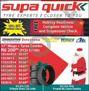 Supa Quick December Specials 50% off on Labour and 20% off on Products.